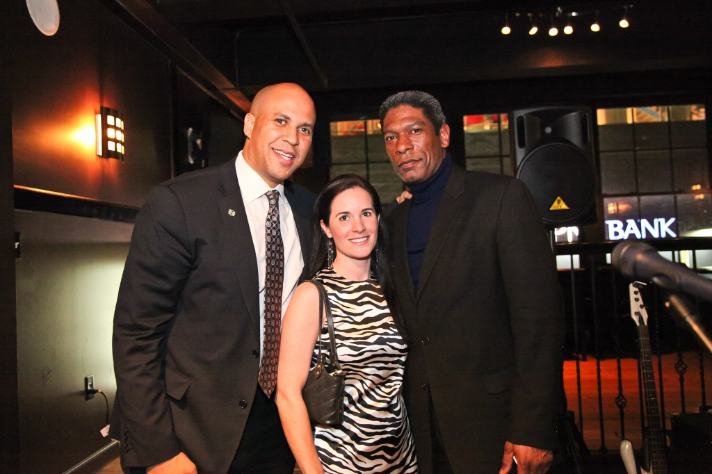 Newark Mayor Cory Booker, CCC Founder Laurel Dumont and Bassist/ Newark Business Administrator Julien Neals at the post Summit fundraiser Cocktails for Change.